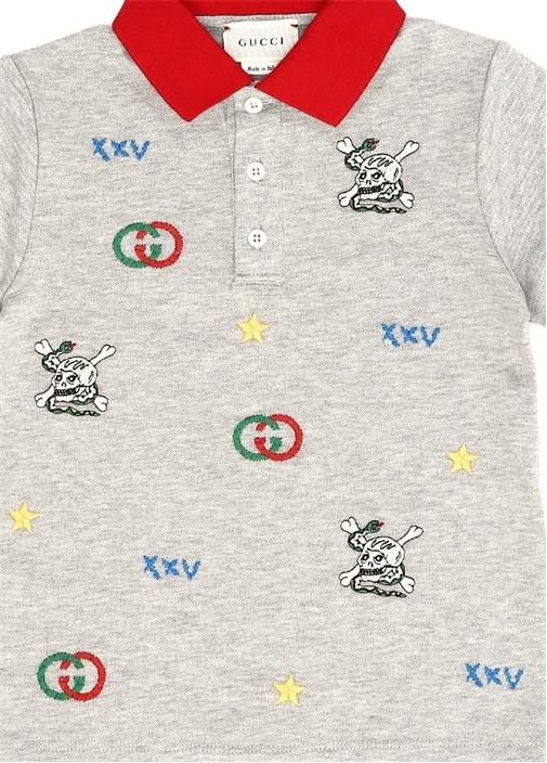 Gri Nakışlı Polo Yaka Erkek Çocuk T-shirt