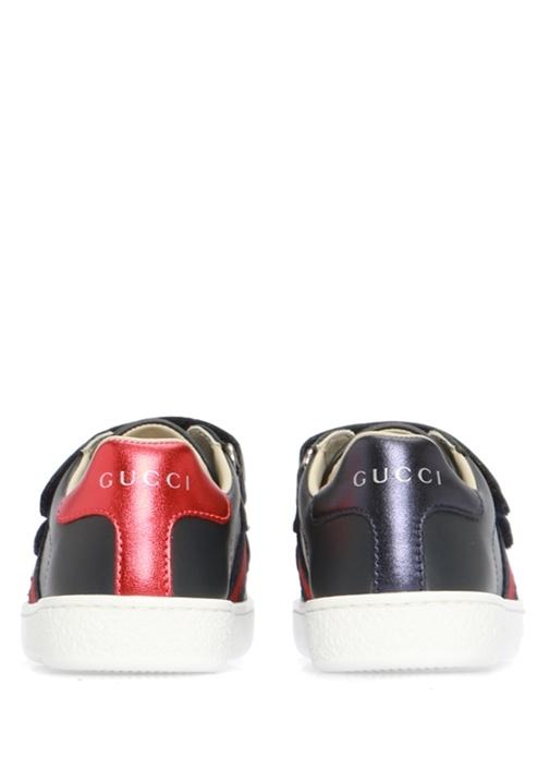 Lacivert Logo Bant Detaylı Kız Çocuk Deri Sneaker