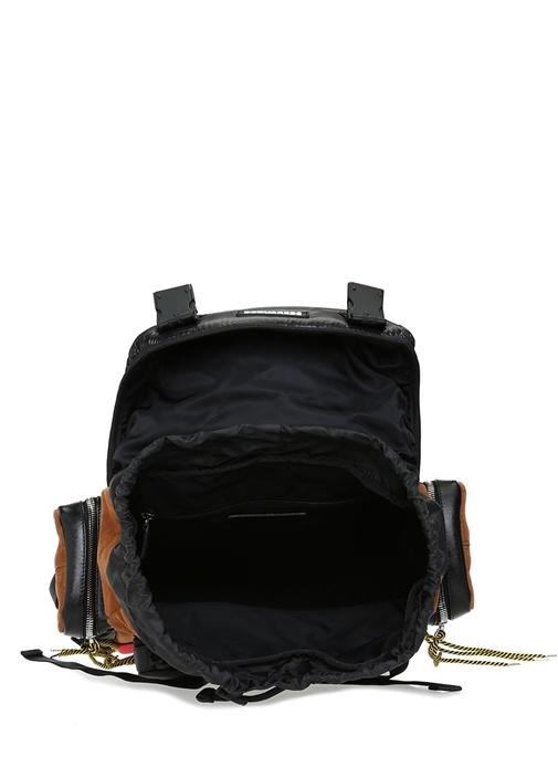 Siyah Taba Logolu Ağzı Büzgülü Erkek Sırt Çantası