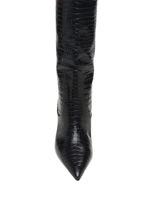 Mavis Siyah Krokodil Desenli Kadın DeriÇizme