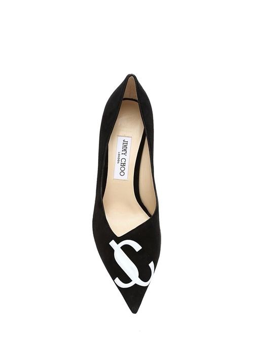 Love Siyah Logo Kabartmalı Süet Stiletto