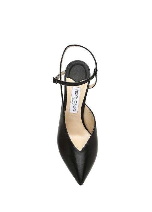 Sakeya Siyah Kadın Deri Topuklu Sandalet