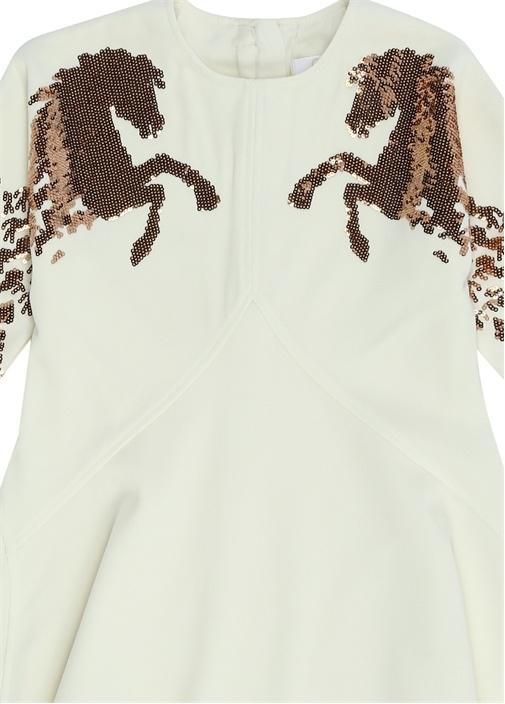 Beyaz Pul İşlemeli Kız Çocuk Elbise