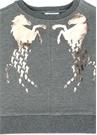 Gri Logo Baskılı Kız Çocuk Sweatshirt