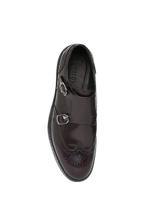 Bordo Çift Tokalı Desenli Erkek Deri Ayakkabı