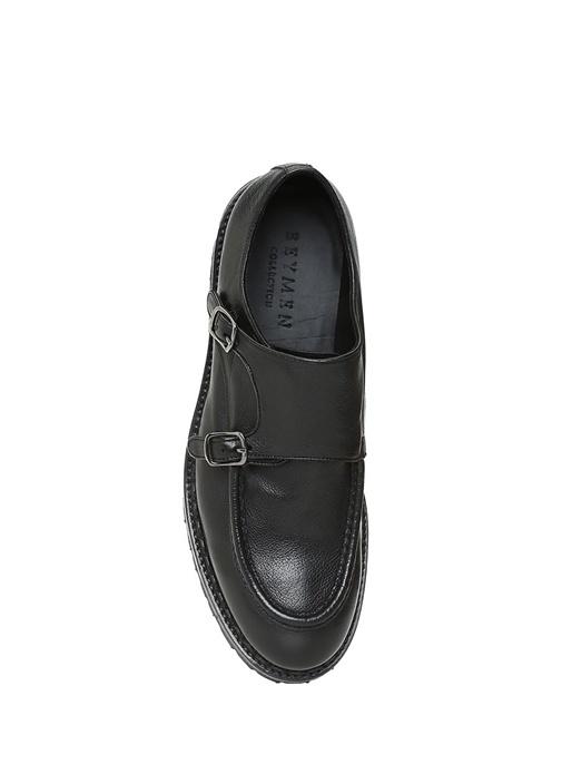 Siyah Çift Tokalı Erkek Deri Ayakkabı