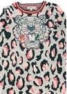 Gri Yeşil Leopar Desenli Logolu Kız Çocuk Elbise
