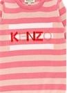 Pembe Şeritli Kabartmalı Logolu Kız Bebek Elbise