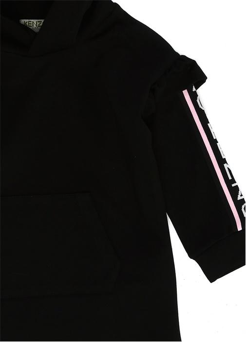 Siyah Kapüşonlu Fırfır Detaylı Kız Çocuk Elbise