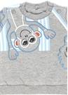 Gri Maymun Baskılı Logolu Erkek Bebek Sweatshirt
