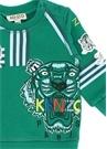 Yeşil Baskılı Logo Nakışlı Erkek Bebek Sweatshirt