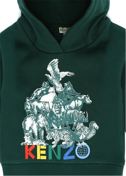 Yeşil Kapüşonlu Baskılı Erkek Çocuk Sweatshirt
