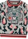 Gri Leoparlı Logolu Kız Bebek Sweatshirt