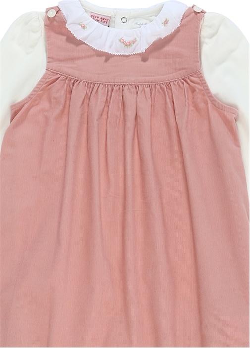 Pembe Beyaz Çiçekli 2li Kız Bebek Elbise Seti