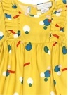 Sarı Fırfırlı Renkli Baskılı Kız Bebek Elbise