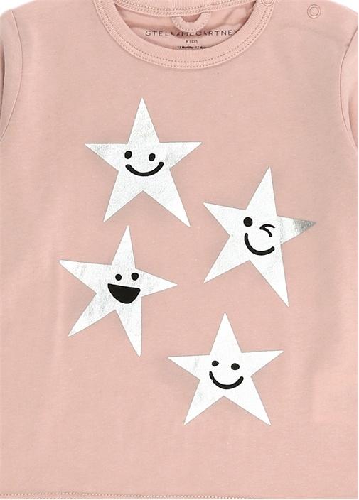 Pembe Yıldız Baskılı Kız Bebek Sweatshirt