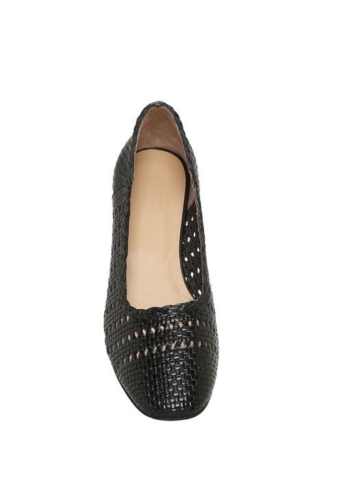Siyah Kalın Topuklu Örgü Ayakkabı