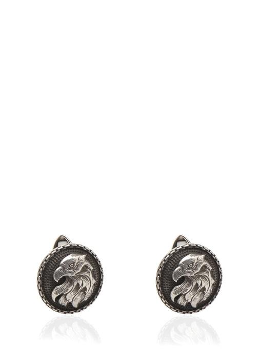 Siyah Silver Kartal İşlemeli Gümüş Kol Düğmesi
