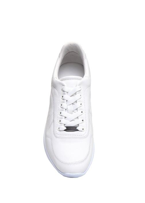 Beyaz Bağcıklı Dikiş Detaylı Erkek DeriSneaker