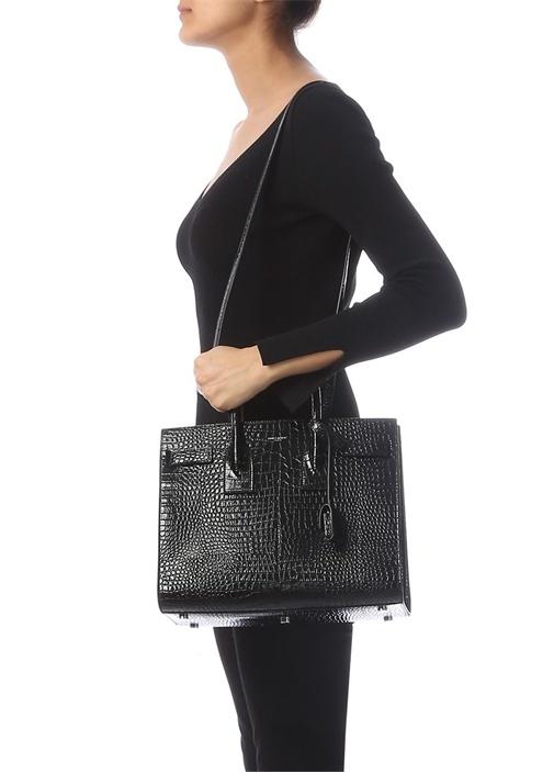 Siyah Yılan Derisi Desenli Kadın Deri Çanta