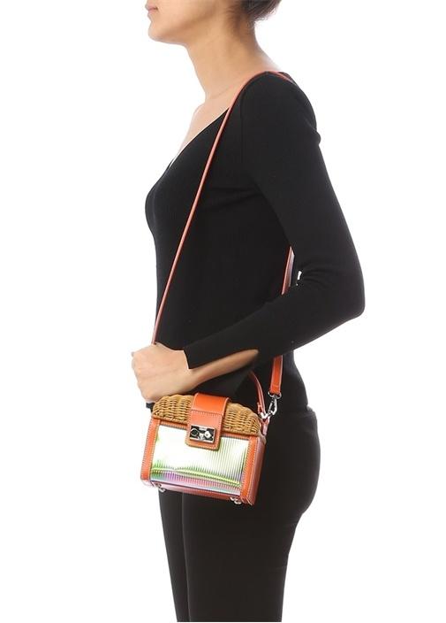 Bej Turuncu Kutu Formlu Kadın Çanta