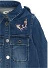 Mavi Polo Yaka Kelebek Kız Çocuk Denim Ceket