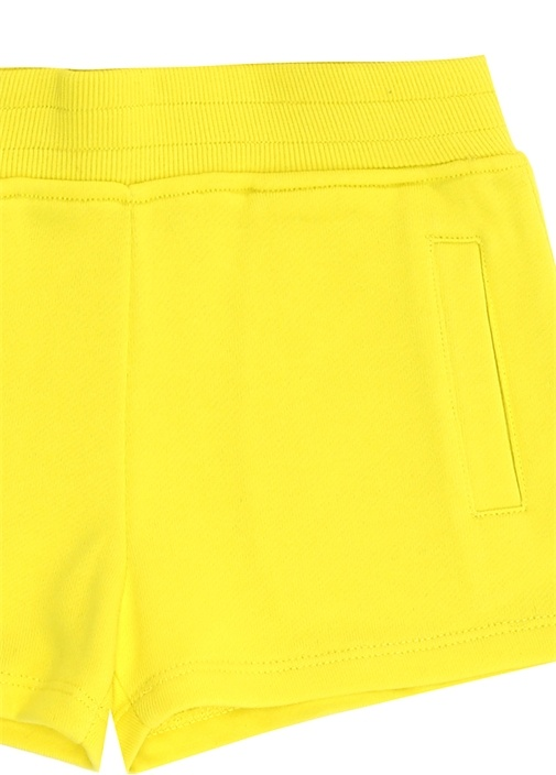 Sarı Logo Patchli Kız Çocuk Şort