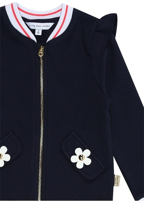 Lacivert Çiçek Patchli Kız Bebek Sweatshirt