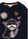 Lacivert Pulpayetli Figürlü Kız Çocuk Sweatshirt
