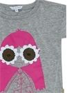 Gri Baskılı Çiçek İşlemeli Kız Çocuk T-shirt