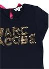 Siyah Taşlı Logo İşlemeli Kız Çocuk T-shirt