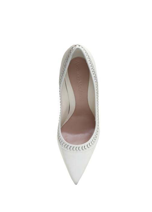 Studded Pin Beyaz Kadın Deri Stiletto