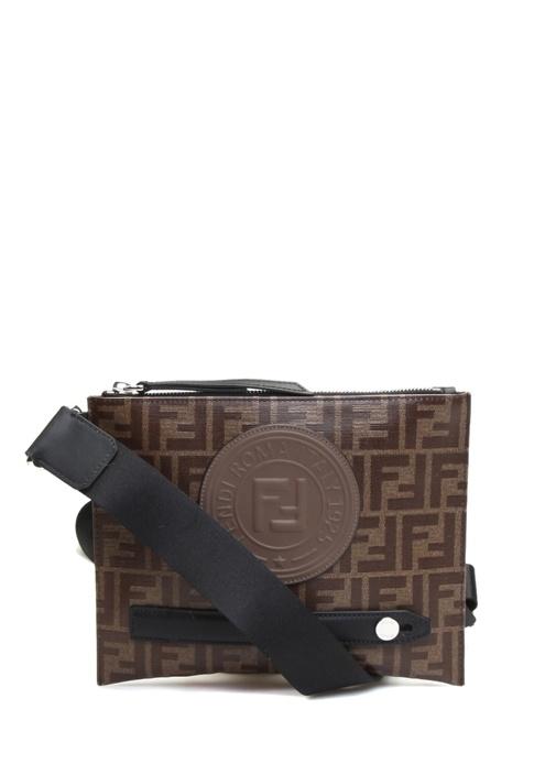 Kahverengi Logo Baskılı Erkek Çanta