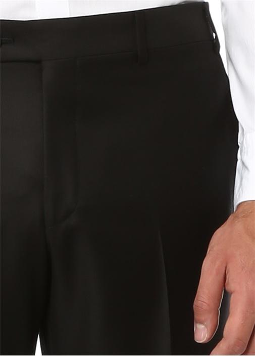 7 Drop Standart Fit Siyah Pilesiz Fermuarli Yün Pantolon