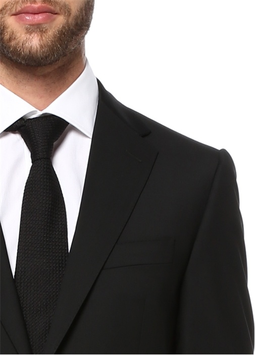 Siyah Yün Standart Fit 7 Drop Blazer