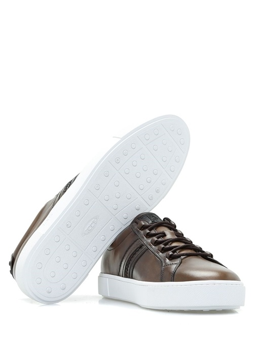 Beyaz Tabanlı Kahverengi Deri Erkek Sneaker