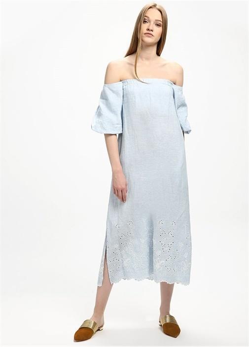 Beymen Collectıon Mavi Omzu Açık Lazer Kesimli Midi Elbise – 429.0 TL