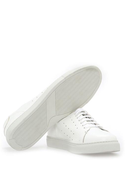 Beyaz Delikli Deri Erkek Sneaker