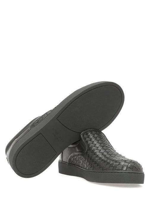 Intrecciato Nappa Deri Siyah Erkek Sneaker