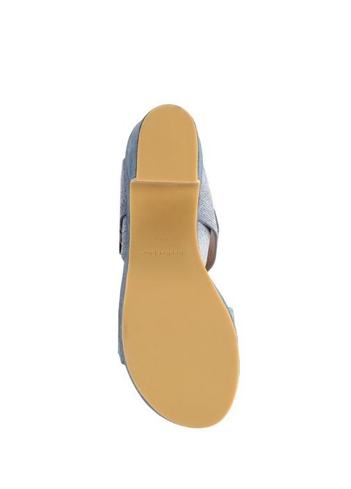 Rafia Denim Kalın Topuklu Süet Sandalet