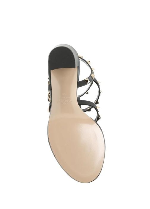 Rockstud Siyah Kadın Deri Topuklu Sandalet
