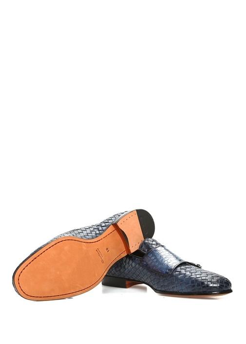 Lacivert Örgü Dokulu Erkek Deri Loafer
