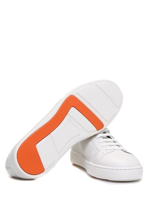 Beyaz Dokulu Erkek Deri Sneaker