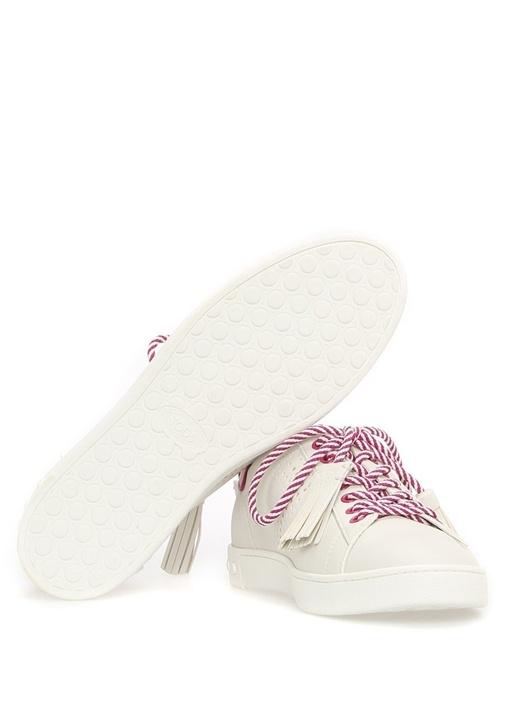 Püskül Bağcıklı Pembe Beyaz Deri Kadın Sneaker