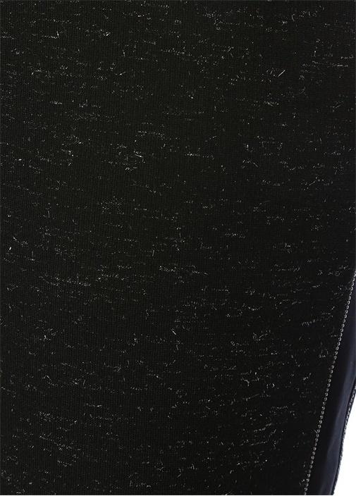 Siyah Boncuk Şeritli Simli Jarse Pantolon