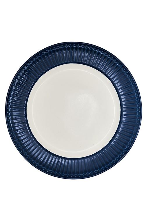 Alice Lacivert Beyaz Porselen Yemek Tabağı