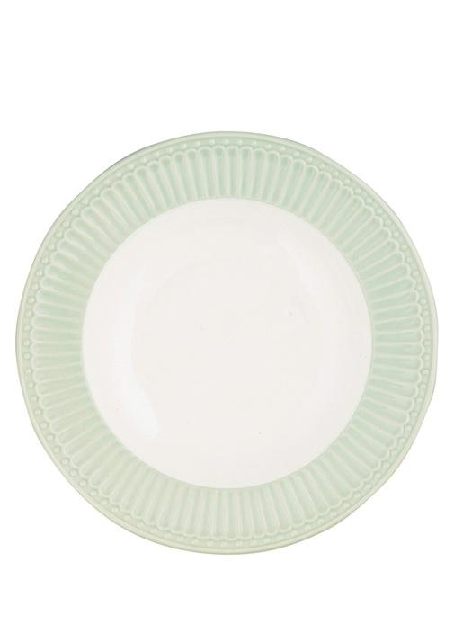 Alice Yeşil Beyaz Porselen Yemek Tabağı