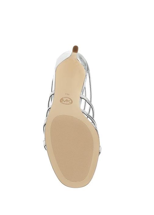 Veronica Silver Fiyonklu Deri Topuklu Sandalet
