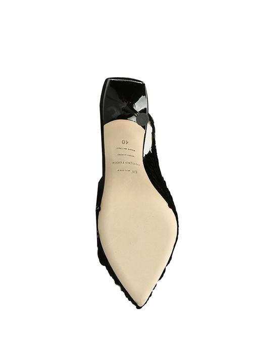 Siyah Pulpayetli Kadın Deri Stiletto