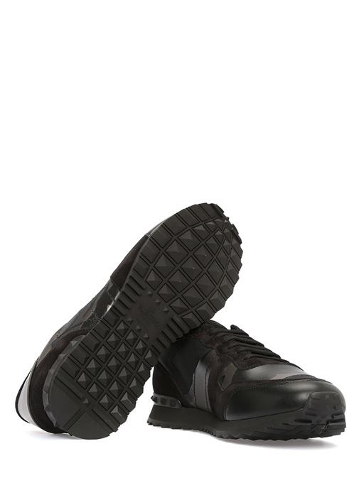 Siyah Kamuflaj Desenli Erkek Deri Sneaker